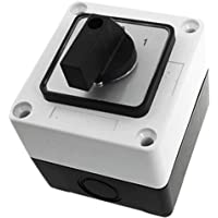 sourcingmap® Selector rotativo interruptor de 2 posiciones caja