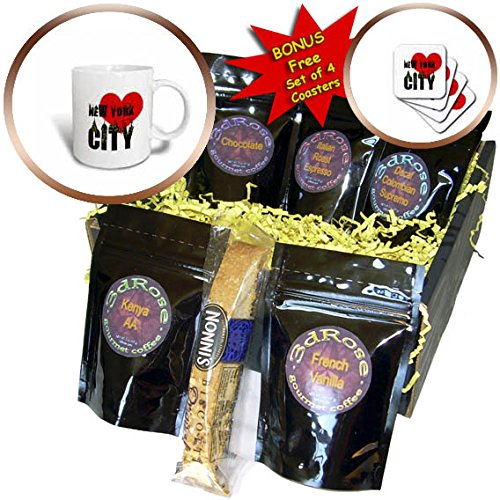3dRose Alexis Design - American Cities - Stylish text New York City, red heart, shining windows on black - Coffee Gift Baskets - Coffee Gift Basket (cgb_286453_1)