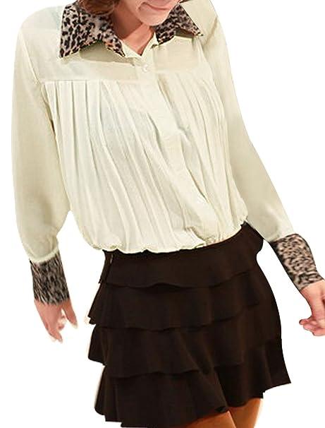 sourcingmap Pantalones de Deporte Para Mujer Diseño de Estampado de Leopardo Point Semi Blusa de Cuello