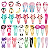 Ondder 36pcs Hair Clips For Kids No Slip Metal Snap Barrettes Hairpin For Girls Toddlers Hair Accessories,Assorted Animal Fruit Design Colors
