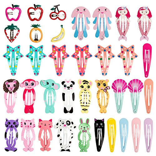 Ondder 36pcs Hair Clips For Kids No Slip Metal Snap Barrettes Hairpin For Girls Toddlers Hair Accessories,Assorted Animal Fruit Design Colors by Ondder