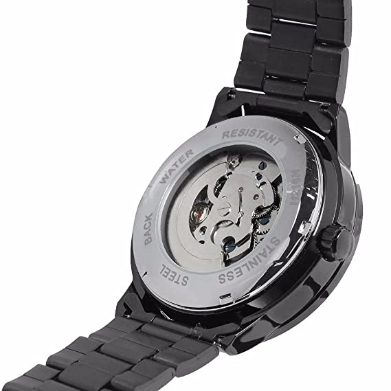 Amazon.com: Luxury Mens Auto Self Wind Skeleton Steampunk Mens Mechanical Wrist Watch Stainless Steel Band Black Dial Silver Movement Watch: Watches