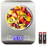 SEEDARY Báscula Digital para Cocina de Acero Inoxidable, 5kg / 11 lbs, Balanza de de Cocina de Alta Precisión, Alimentos…