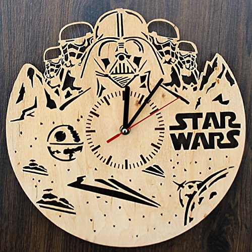 Star Wars Characters Design Real Wood Wall Clock - Eco Friendly Natural Bedroom Wall Decor - Creative Gift Idea for Men and Women