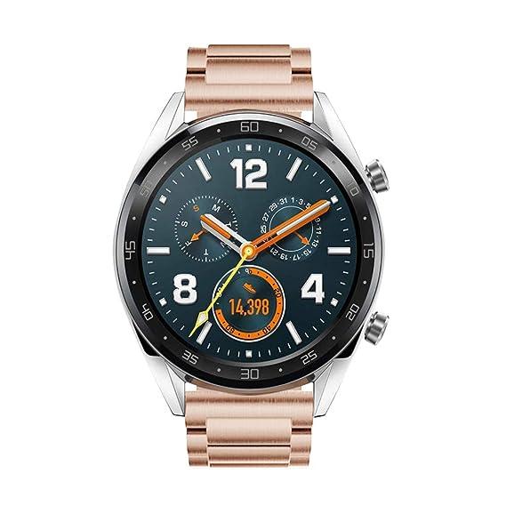 Leafboat Bracelet Compatible Fossil Gen4 Q Explorist HR de Montre, 22mm Bracelet de Rechange Classique Métal INOX, Unisexe Smart Watch Accessoire(Rose Gold ...