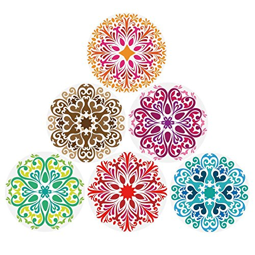 Coasters Absorbent Stone For Drinks 6-Pack, Drink-spill Protection Prevents Stain or Damage to Furniture - 6 Mandala Styles in a Set, 4.3 inch Oversize Thirsty Ceramic Base With Cork Bottom, No Holder ()
