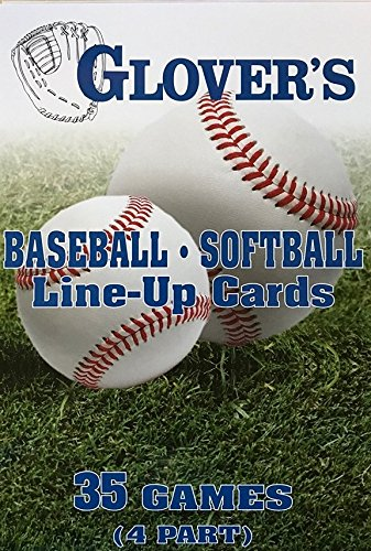 Glover's Scorebooks Baseball/Softball Line-Up Cards, Large (5.5X 8.5, 4 Part) (Best Baseball Scorebook For Little League)