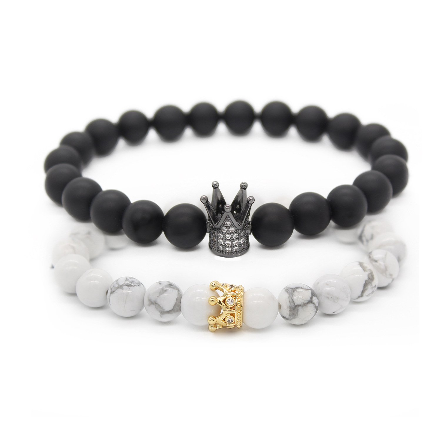 POSHFEEL 8mm Black Matte Agate & White Howlite Stone CZ Crown King Beads His and Hers Couple Bracelet, 7.5''