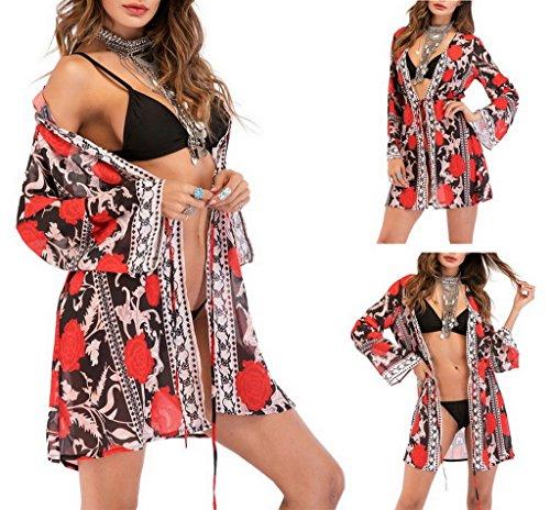 COMVIP stampato floreale Donna Coprire costume bagno Beach chiffon Cardigan Nero da ppq4Z1wx