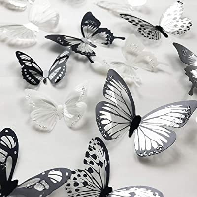 V-Time 36 PCS 3D Colorful Crystal Butterfly Wall Stickers with Adhesive Art Decal Satin Paper Butterflies Baby Kids Bedroom Home DIY Decor Removable Sticker (Black and White): Home & Kitchen
