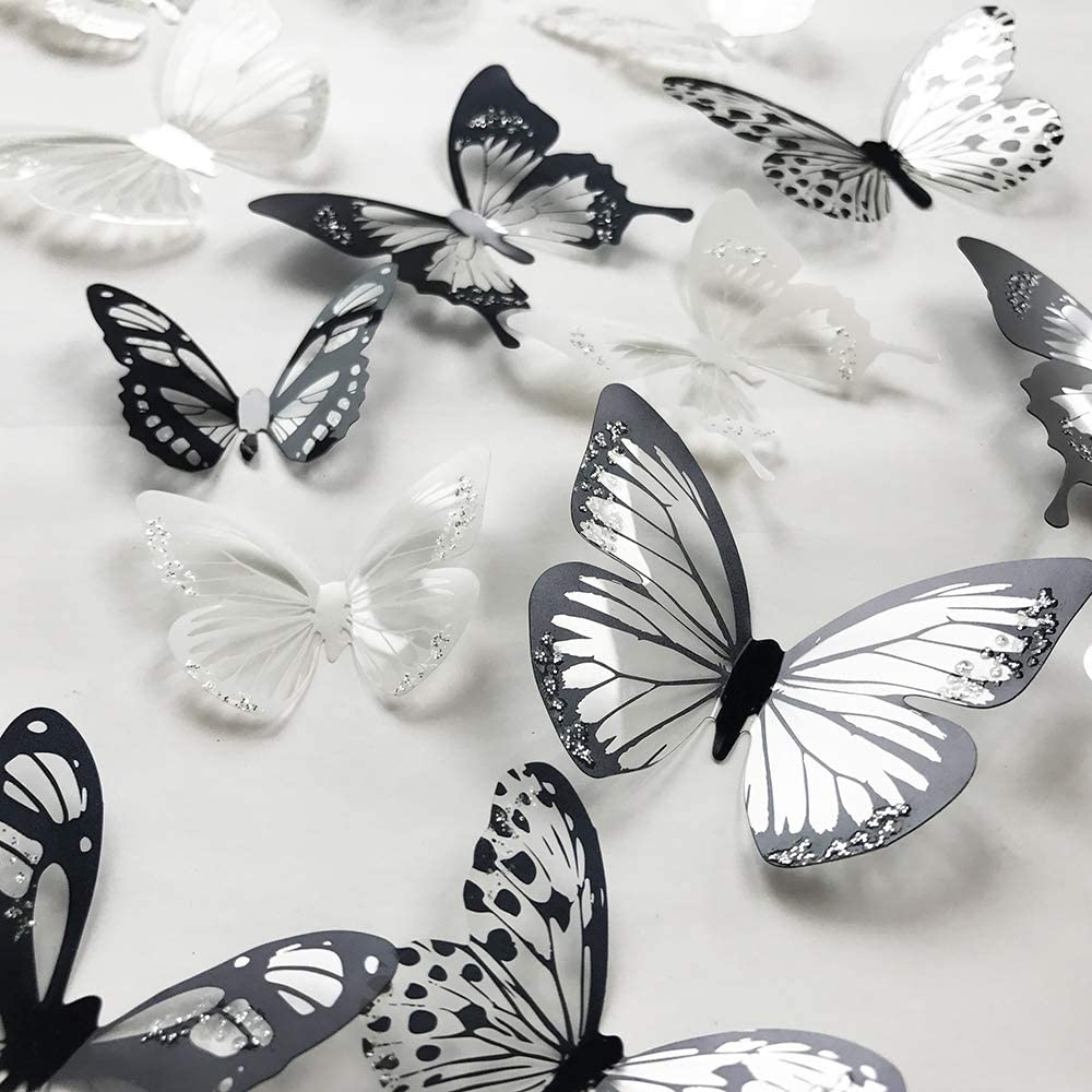 V-Time 36 PCS 3D Colorful Crystal Butterfly Wall Stickers with Adhesive Art Decal Satin Paper Butterflies Baby Kids Bedroom Home DIY Decor Removable Sticker (Black and White)