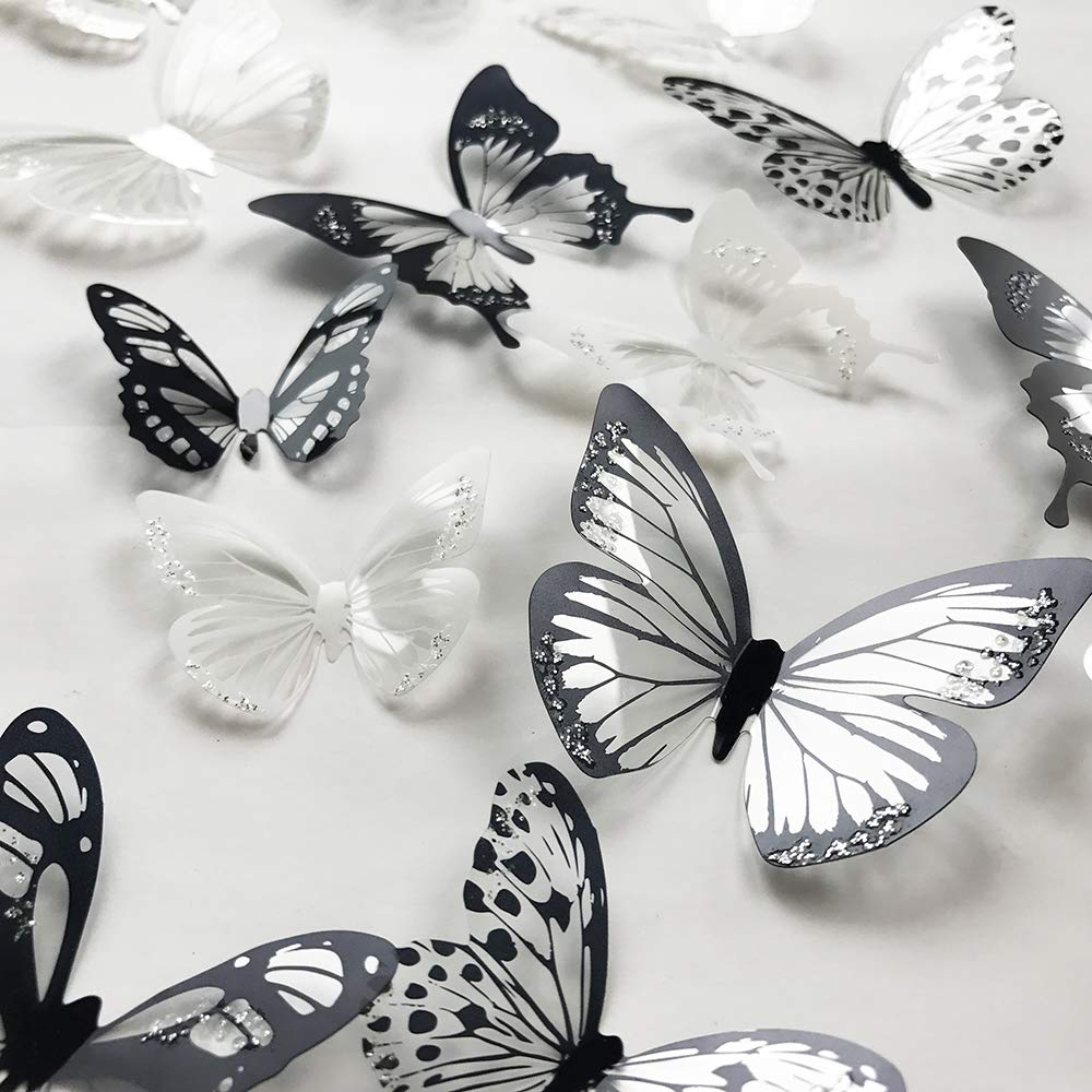 48PCS / pinkblume Silver Butterfly Decorations 3D Butterflies Wall Art Decor Stickers DIY Removable Metallic Glitter Paper Wall Decal for Home Living Room Babys Kids Bedroom Showcase Nursery Decor