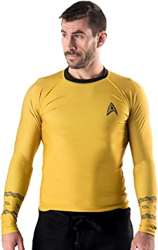 Amazon.com: Star Trek Classic Uniforme BJJ Rash guard- Oro ...