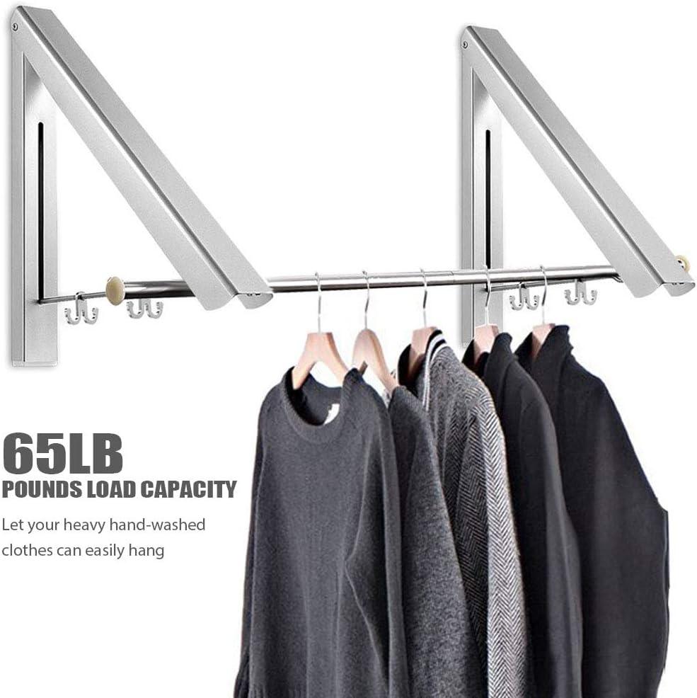 Eauta barra de armario retr/áctil y perchero de ropa Soporte de pared plegable percha de ropa y rack
