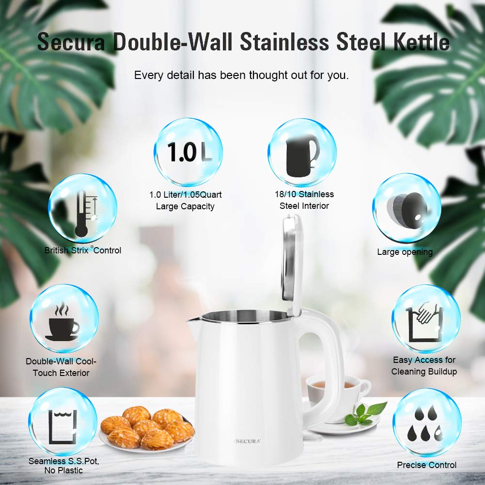 Secura Stainless Steel Double Wall Electric Kettle Water Heater for Tea Coffee w/Auto Shut-Off and Boil-Dry Protection, 1.0L, White by Secura (Image #6)