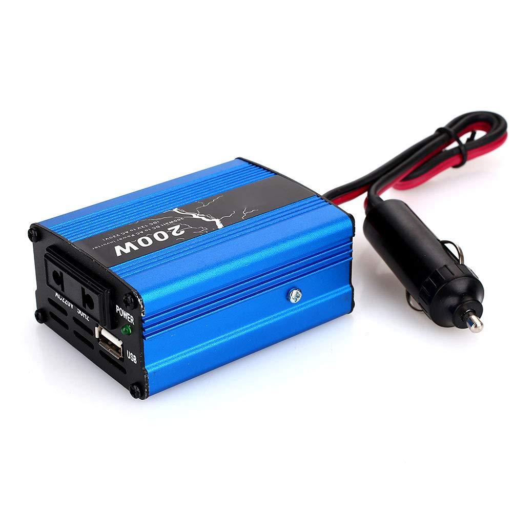 Rosepoem Onduleur Solaire 100W / 200W DC 12V à 220V AC, Adaptateur Chargeur de Chargeur de Voiture avec Prise USB et Prise Allume-Cigare