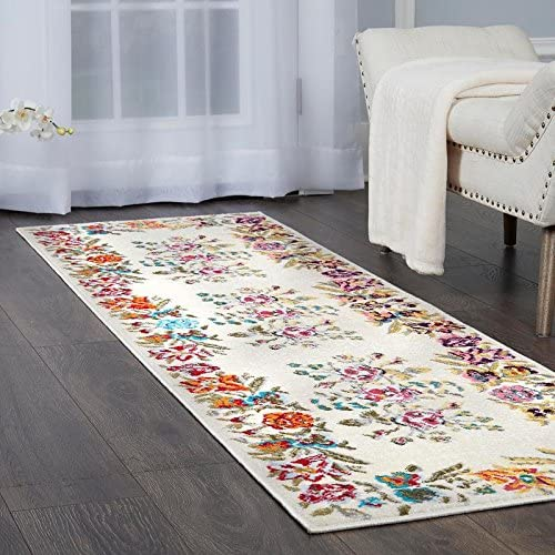 Clearance Home Dynamix Melody Devonia Modern Runner Rug, Floral Ivory Blue Pink 2 2 x7 6