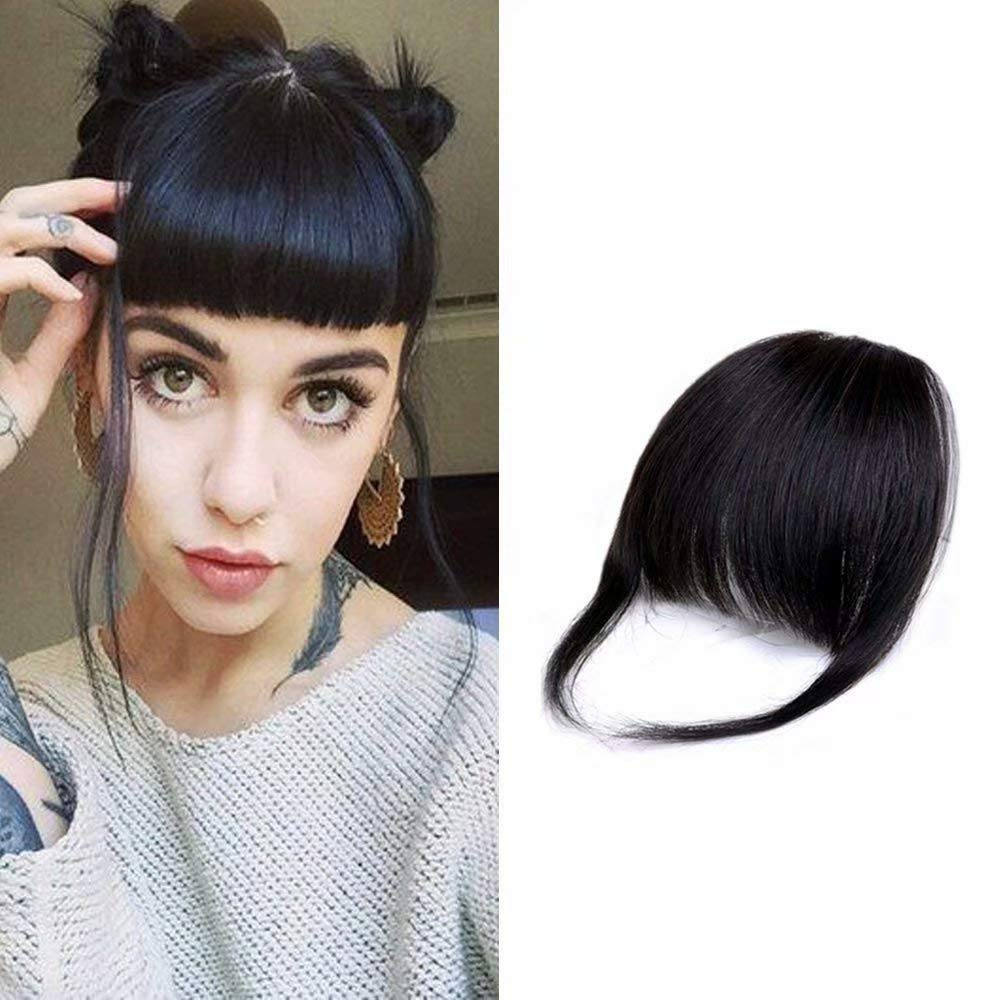 Amazon Com Hikyuu Thick Bangs Clip In Hair Extensions With Temples 100 Remy Human Hair For Black Women 1b Black Bangs With 2 Clips Beauty
