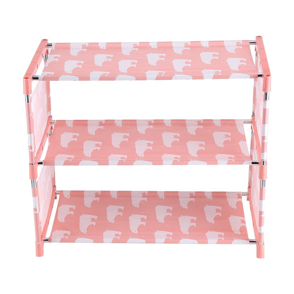 3 Tier Stackable Shoe Shelves Portable Shoe Tower Closet Rack Storage Cabinet Boot Organizer Shoe Stand(Pink)