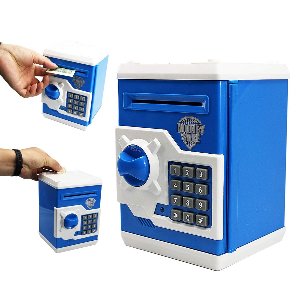 SZAT PRO Blue Electric Electronic Piggy Bank Kids Boys Money Safe Box Jar Coins Cashes Bills Password Key Code ATM Saver Toy