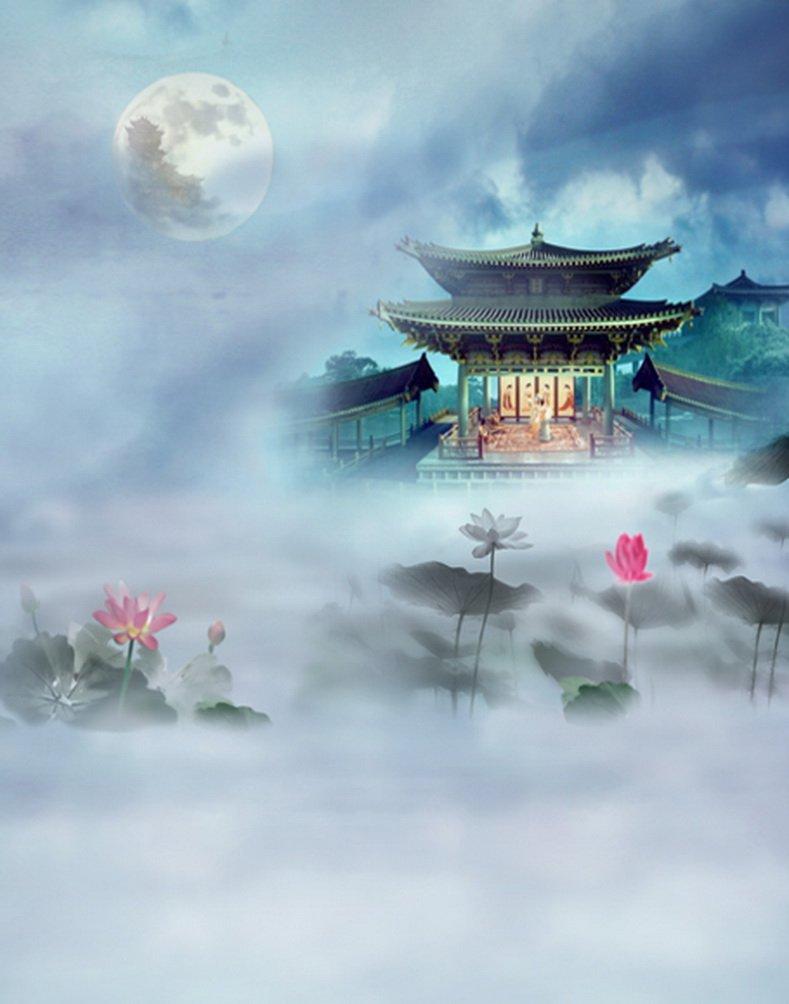 5 x 7ft Lotus Moon Chinese Traditional Palace写真背景computer-printedビニールBackdrops   B01JTUBIWK