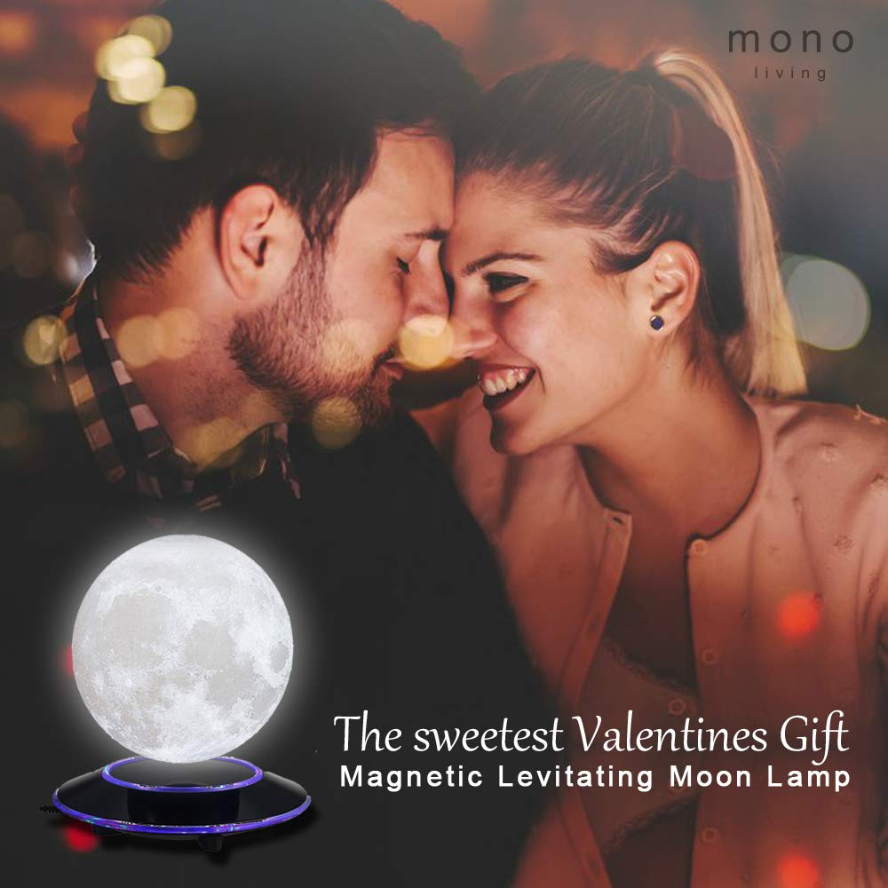 mono living Magnetic Levitating Moon Lamp Night Light 3D Print LED Auto Rotate Birthday Father's Day Gift Gift for Him Her Mother Family Couple Daughter TeenGirl Boyfriend Girlfriend 5.9'' by mono living (Image #4)