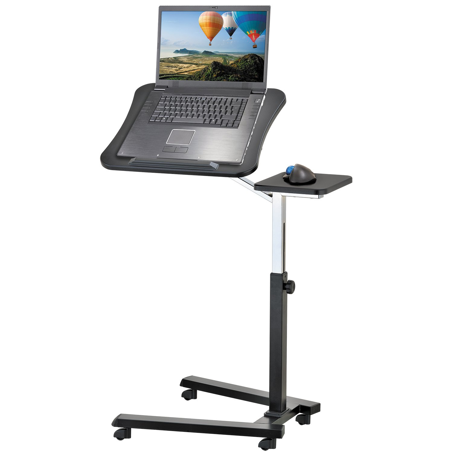 Tatkraft Joy Adjustable and Portable Laptop Stand, Easy to Fold, Rolling Desk with Mouse Pad, Ergonomic Laptop Desk on Wheels