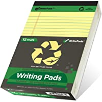 """KAISA Legal Pads Recycled Paper Writing Pads 5""""x8"""" Narrow Ruled Perforated 50 sheets Writed Pad, (Pack of 12pc) Canary…"""