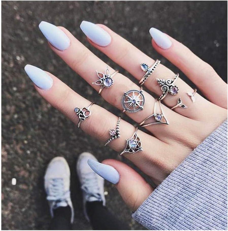 IYOU - Juego de anillos de plata con piedras preciosas para nudillos y nudillos (10 unidades)