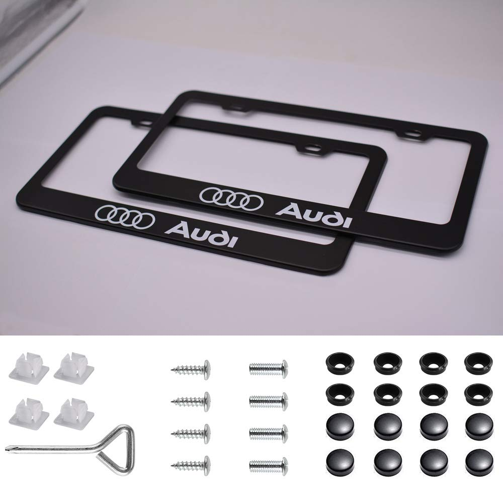 for Audi sparkle-um 2pcs Newest Matte Aluminum Alloy License Plate Frame ,with Screw Caps Cover Set Suit,Applicable to US Standard car License Frame