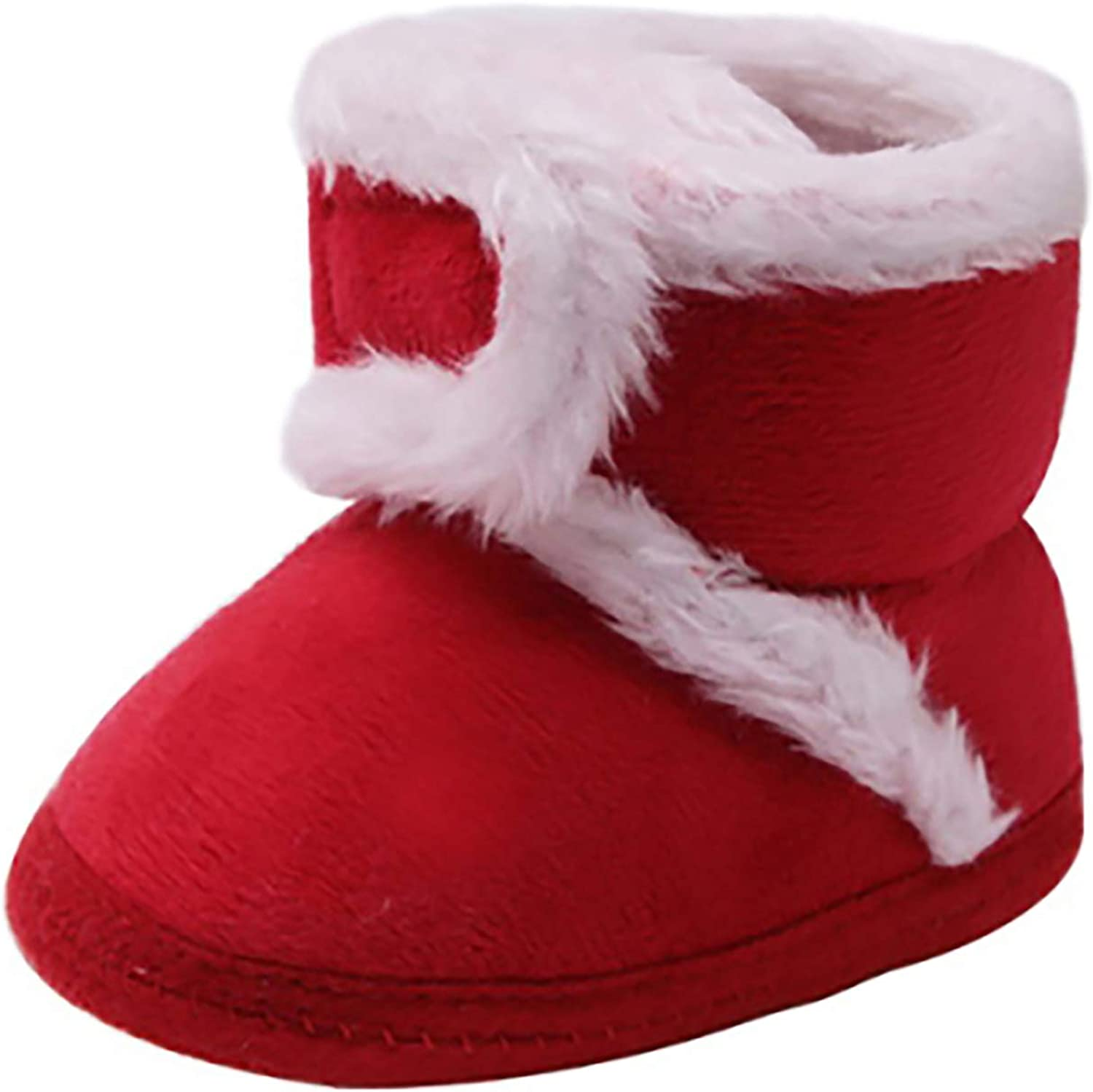 Meeshine Newborn Baby Boys Girls Santa Claus Christmas Slippers Warm Fur Infant Toddler Boots Booties Shoes