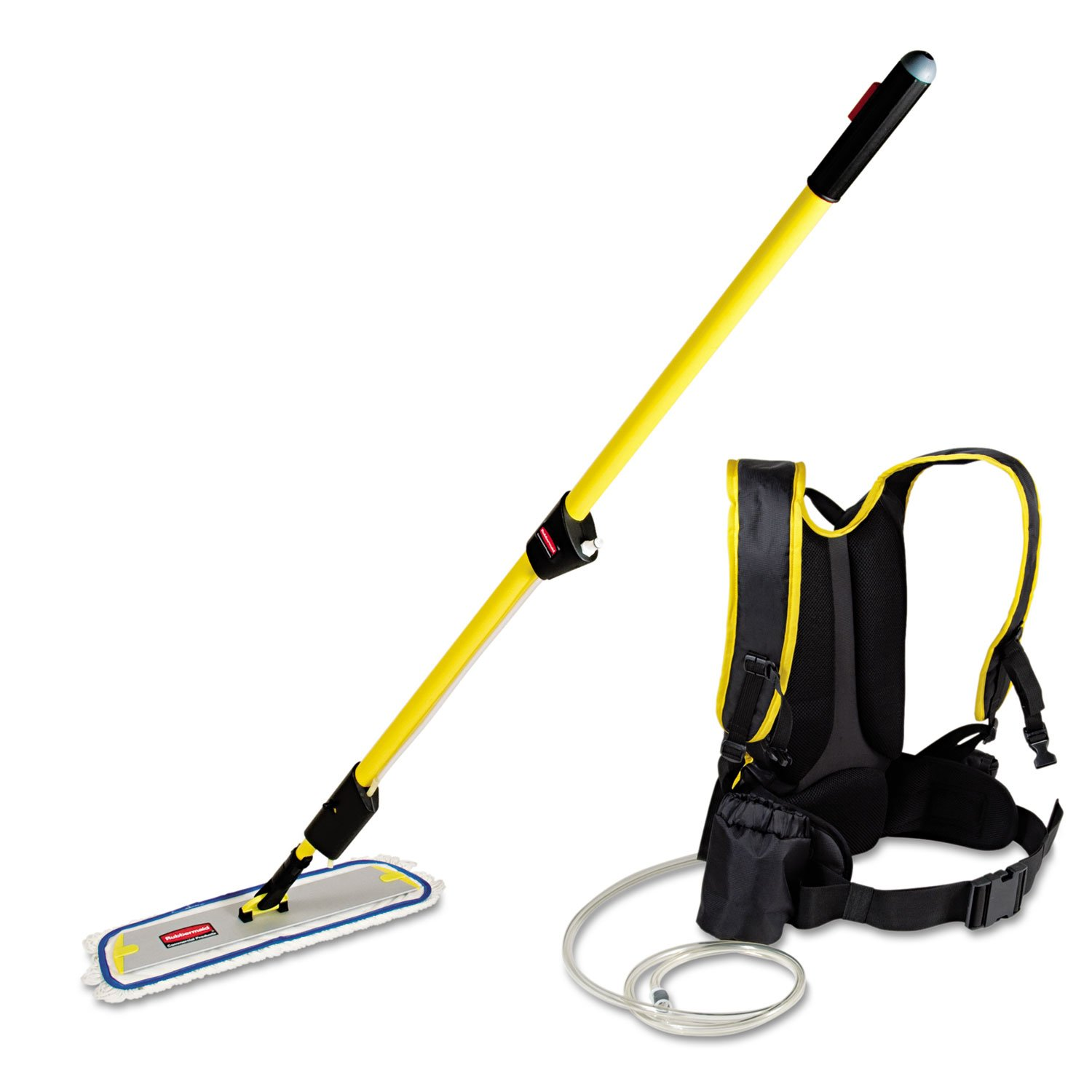 Rubbermaid RCP Q979 Flow Finish Floor Cleaning System with Backpack, Flat Mop/Frame, and Trigger Handle