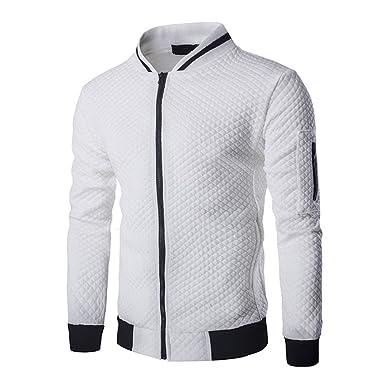 ad5fb2a1ab3f4 Veravant Sweat-Shirt Homme Manches Longues Pull Uni Zippé Bomber Blouson  Veste Sport - Blanc
