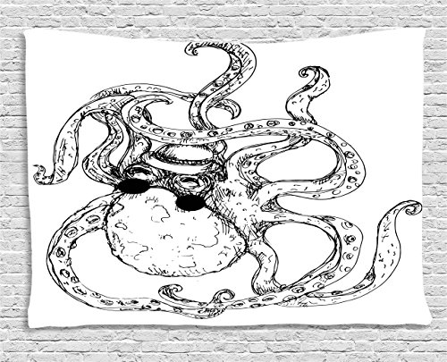 Octopus Tapestry Black and White Decor by Ambesonne, Hipster Octopus Tattoo Style Undersea Creature Monster Cartoon Print, Bedroom Living Room Dorm Art Wall Hanging, 80 X 60 Inches, White Black