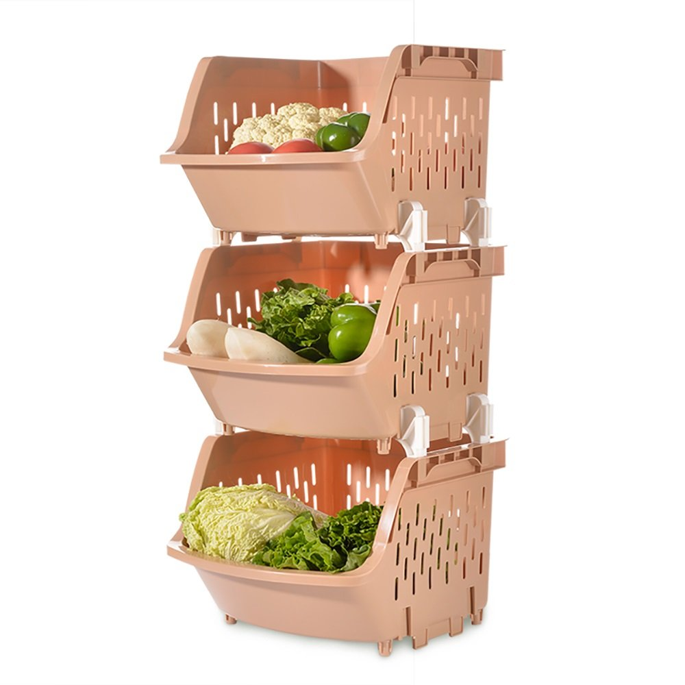 TYSM Shelves Kitchen Racks Floor Plastic 3-storey Curved Fruit And Vegetable Storage Baskets (Color : White) TY SM