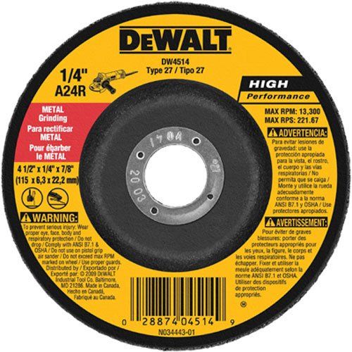 DEWALT DW4514B5 4-1/2-Inch by 1/4-Inch by 7/8-Inch Metal Grinding Wheel (5-Pack) by DEWALT