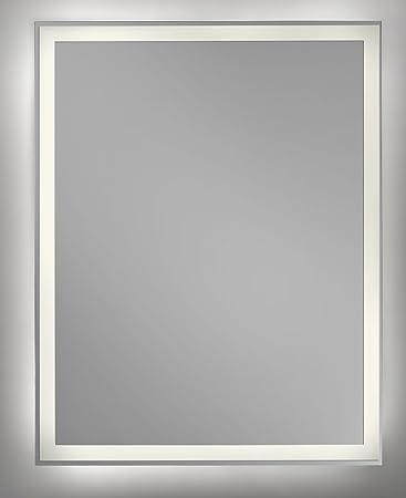 Badezimmerspiegel Rechteckig.Cube 80x60 Cm Badezimmerspiegel Rechteckig Led Beleuchtet Warmweiss