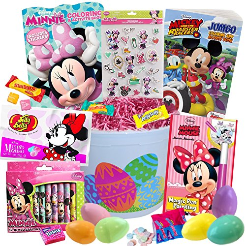 (Minnie Mouse Easter Basket 20pc Kit, Easter Eggs, Easter Candy, Minnie Coloring Book, Mickey Coloring Book, Minnie Magic Pen, Jelly Beans, Minnie Stickers, Crayons, Pink Easter Grass and more Disney)