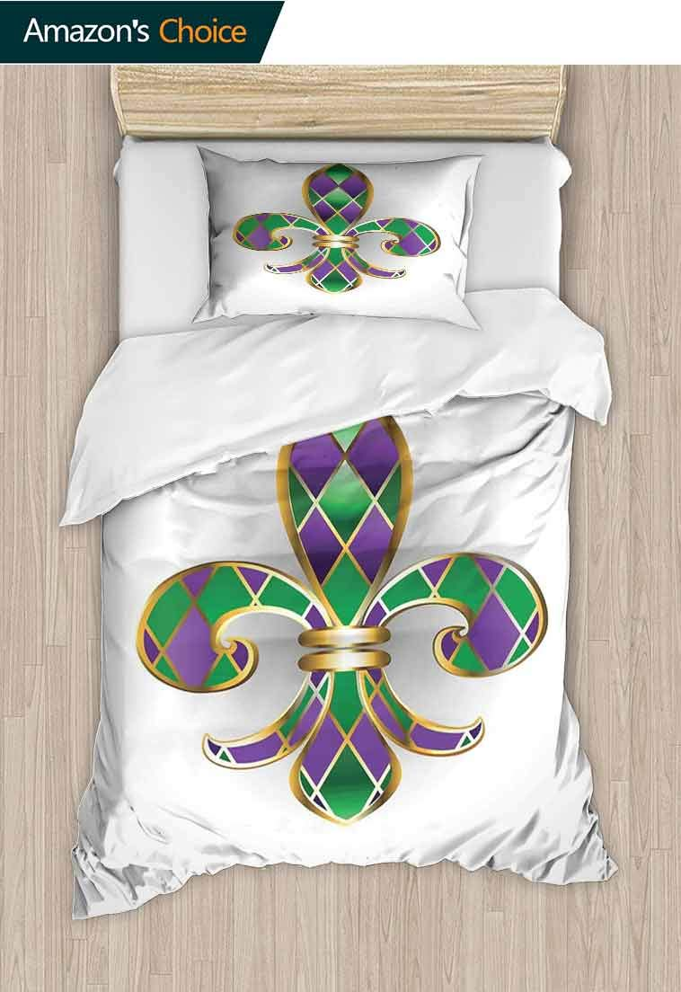 carmaxshome Fleur De Lis Custom Made Quilt Cover and Pillowcase Set, Gold Colored Lily Symbol with Diamond Shapes Royal, 100% Cotton Bedspread/Quilt Set, 2 Pieces-1 Duvet Cover and 1 Pillow Shams
