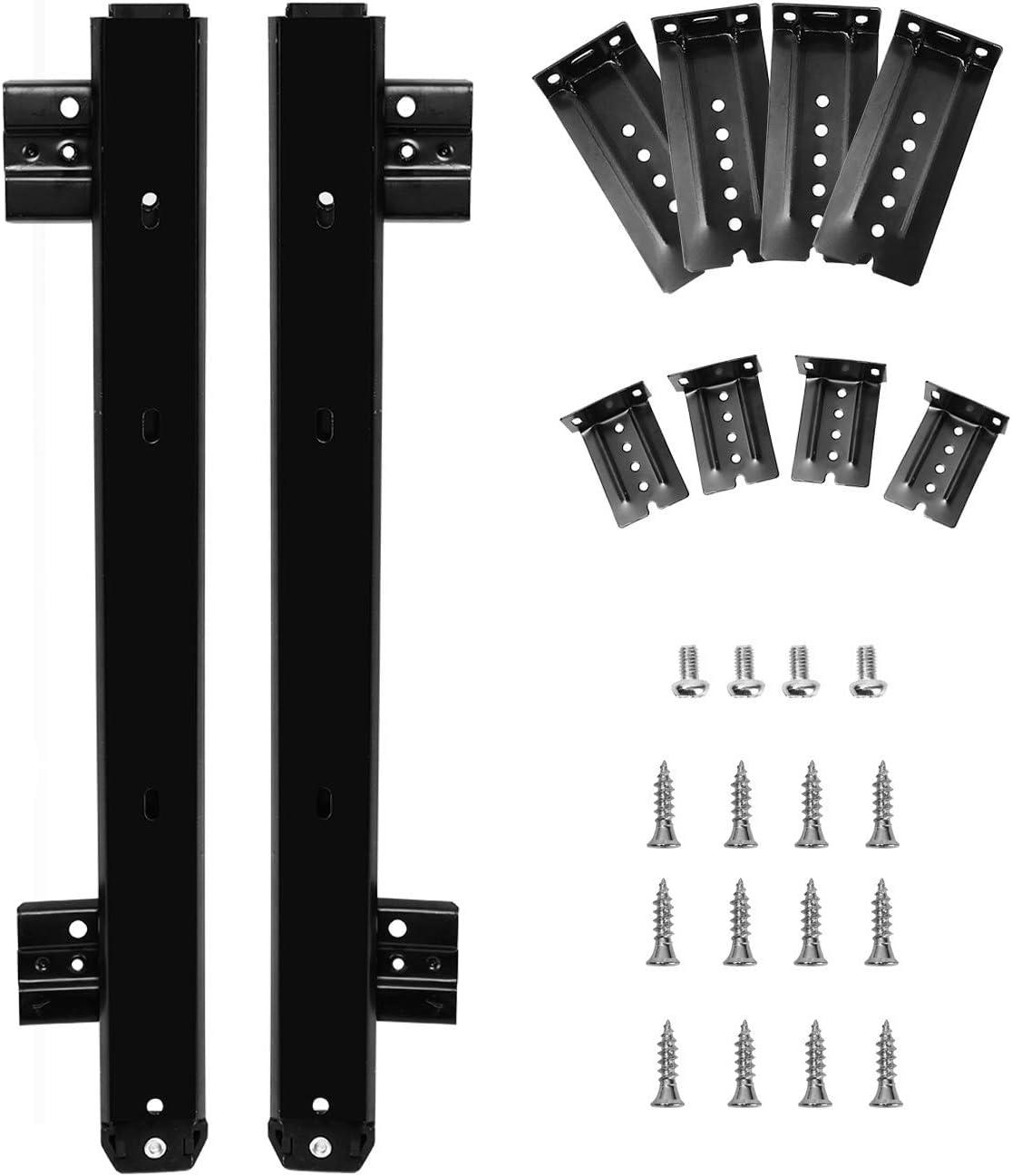 Keyboard Slide, KINJOEK 14 Inch 2 PCS Heavy Duty Ball Bearing Slides, Computer Drawer Tray Accessories, Cabinet Furniture Rails Rack with Adjustable Height Bracket and Screws, Black