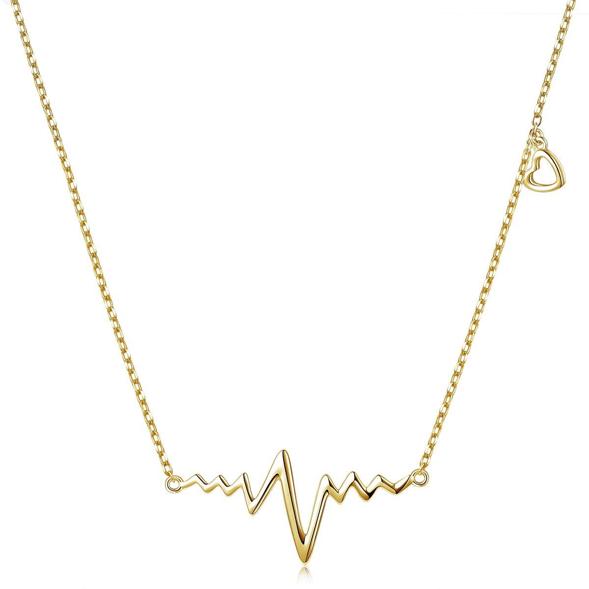 LINLIN FINE JEWELRY Heartbeat Necklace 925 Sterling Silver Infinity Love Cute Life Line Heart EKG Heartbeat Necklace Gift for Women Girls,18'' (Gold)