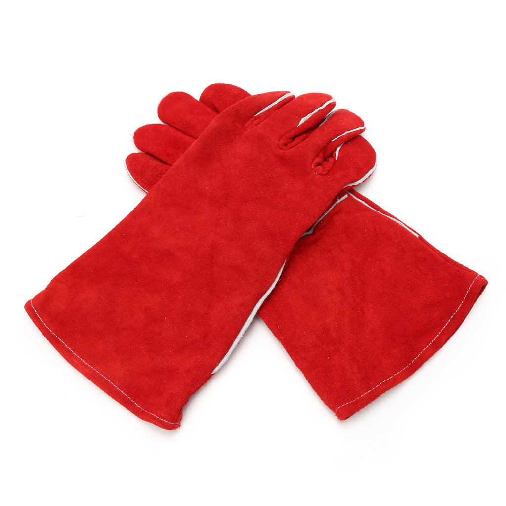 Techinal 1Pair Red Long Arm Cowhide Protective Gloves, Soft Wear-Resistant Welding Gloves for Working Repair