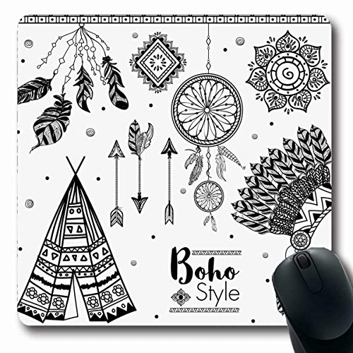 Stella Bonnet - Melyti Gaming Mousepad Custom Abstract Boho Cluding Feathers Dream Catcher Arrows Set Teepee War Bonnet Vintage Aztec Bohemian Oblong Shape 7.9 x 9.5 Inches Rectangle Non-Slip Rubber Mouse Pads
