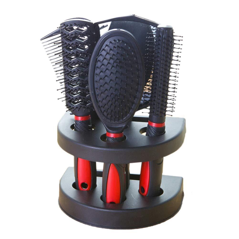 Frcolor 5 stücke Professionelle Friseursalon Kamm und Spiegel Kits Salon Barber Kamm Pinsel antistatische Haarbürste Haarpflege Styling (Rot)