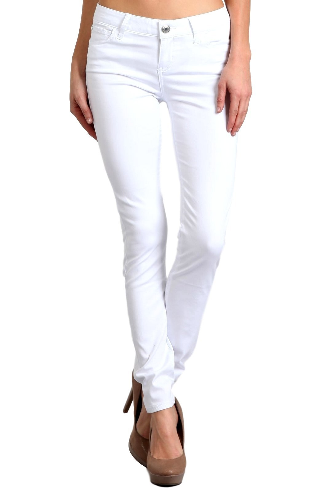 Celebrity Pink Women's Mid Rise Colored Skinny Pants CJ21038Z35 (White, 9/29)