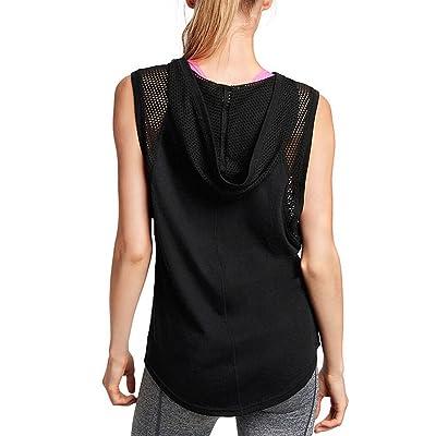 Fihapyli Active Women's Sleeveless Hoodie Mesh Splice Sleeveless See Through Hoodies Shirt Yoga Tanks Running Tops