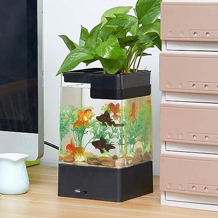 BABYSq Tanque de Peces autolimpiante, Mini Acuario en Forma de Cubo con Kit de Inicio, para la Oficina Decoración del hogar Accesorios para Mascotas,Black: ...