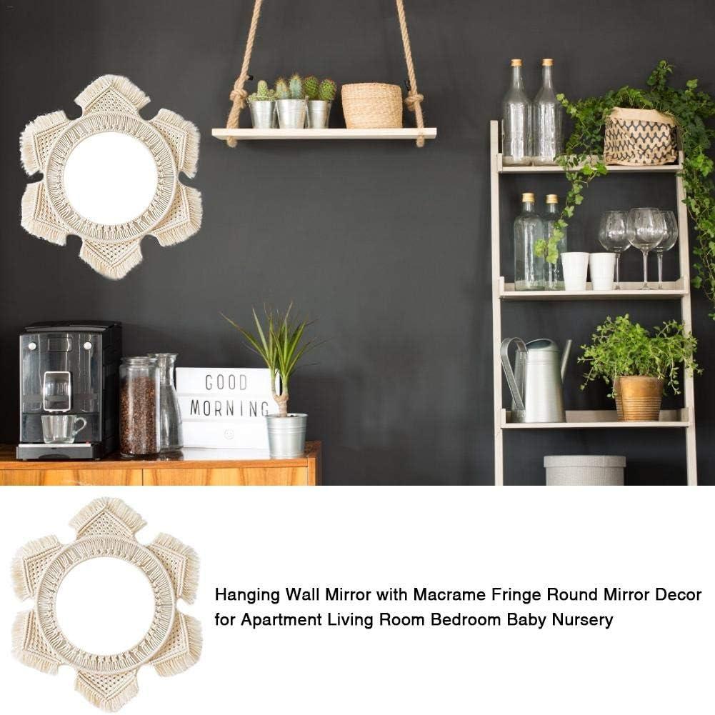 PIONIN Espejo de Pared Colgante con decoraci/ón de Espejo Redondeado de macram/é para el apartamento Sala de Estar Dormitorio Beb/é Guarder/ía