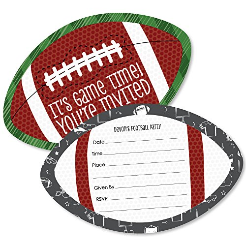 Custom End Zone - Football - Personalized Baby Shower or Birthday Party Invitations - Fill In Invitation Cards with Envelopes - Set of (Football Invitations)