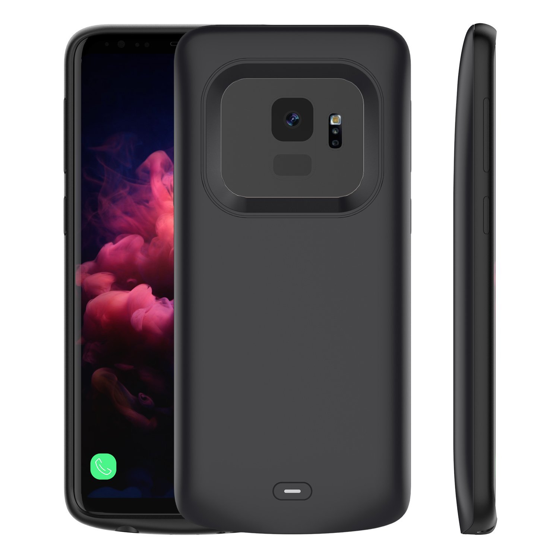 Scheam Samsung Galaxy S9 4700mAh Battery Case, Design Battery Charger Case Cover, Design Battery Charging Case with Design for Samsung Galaxy S9 4700mAh Black